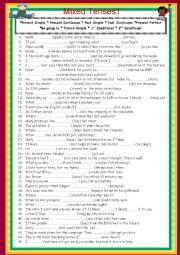 English Worksheet: Mixed Tenses 1