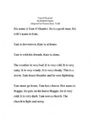 English Worksheet: Tam O Shanter adapted text for beginners
