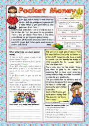 English Worksheet: Pocket Money (+KEY)