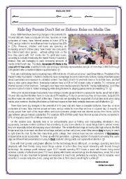 English Worksheet: TEST- KIDS SAY PARENTS DON�T SET OR ENFORCE RULES ON MEDIA USE-VERSION B