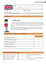 English Worksheet: Test - 6th grade 1/2