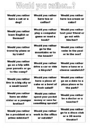 English worksheets: Would you rather...? Speaking Cards