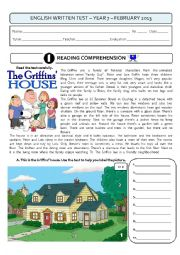English Worksheet: 4-PAGE TEST - ALL AROUND THE HOUSE (7th form) + key