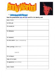 English Worksheet: ANDY warhol webquest