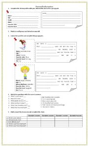 English Worksheet: Personal Profile