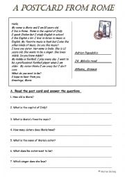 English Worksheet: A postcard from Rome (2 pages)