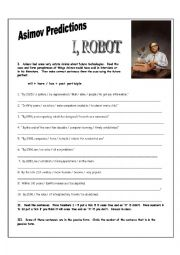 English Worksheet: I Robot DVD Three Exercises