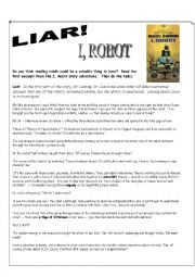 English Worksheet: I Robot DVD Fiction Reading Exercise