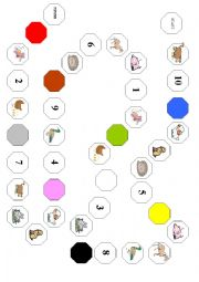 English Worksheet: Board game - farm animals, numbers and colours