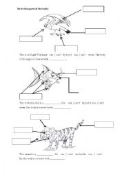 English Worksheet: animal body parts