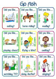 Go fish - Did you like + verb + ing? (1/3)