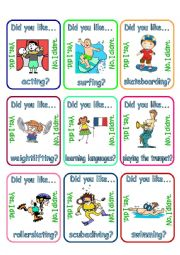 Go fish - Did you like + verb + ing (3/3)