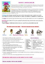 English Worksheet: Madly Madagascar (video +  reading activity for Valentines day)