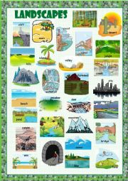 English Worksheet: Landscapes Picture Dictionary