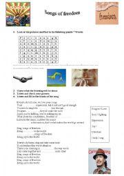 English Worksheet: Songs of freedom