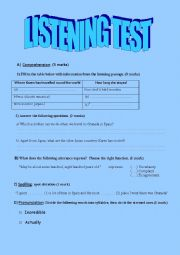English Worksheet: Listening test for 3rd formers( travelling around the world)