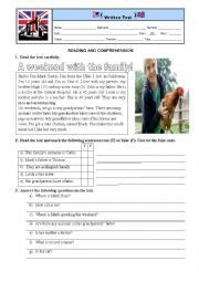 English Worksheet: Test. Reading and comprehension.