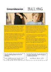 English Worksheet: Bullying [comprehension text]