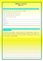 English Worksheet: permission obligation prohibition exercises with make and let