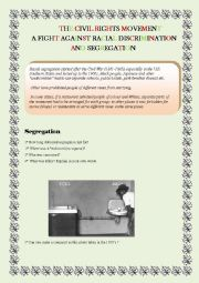 English Worksheet: Segregation in the 1950s in the USA