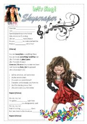 English Worksheet: Song SkyScraper by Demi Lovato
