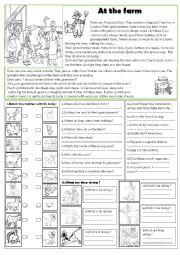 English Worksheet: At the farm