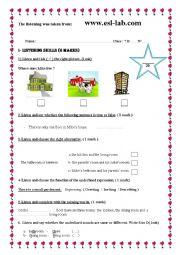 English Worksheet: Mid-Term Test N°2 7th Form