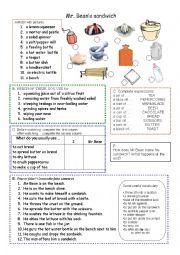 English Worksheet: Mr Bean makes a  sandwich