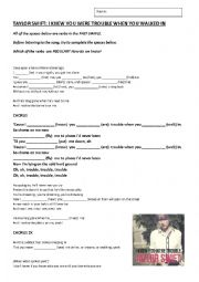 English Worksheet: I Knew You Were Trouble - Taylor Swift