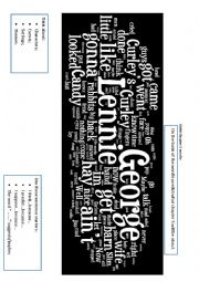 English Worksheet: Of Mice and Men wordle - prediction chapters 5 and 6