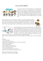 English Worksheet: Reading comprehension - Do you like football? (In_Present_Simple)