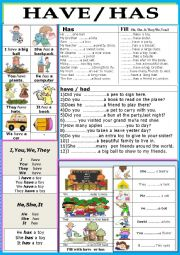 English Worksheet:  Grammar/ Verbs / Has / Have