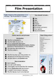 English Worksheet: Film presentation (task, words and phrases)