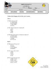 English Worksheet: listening test- sports