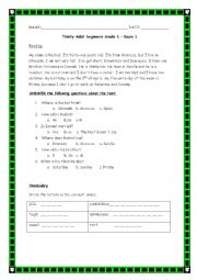 English Worksheet: TRINITY GRADE 1 ADULTS OR BEGINNERS
