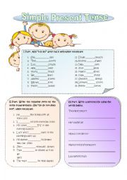 English Worksheet: Simple Present Tense Black and White Version