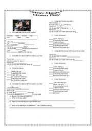 English Worksheet: STRAY HEART (GREEN DAY)