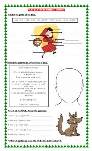 English Worksheet: LITTLE RED RIDING HOOD (Parts Of The Body)