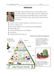 English Worksheet: Oral Exam: Healthy Living