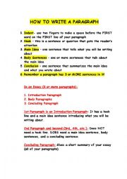 English Worksheet: How to Write a Paragraph