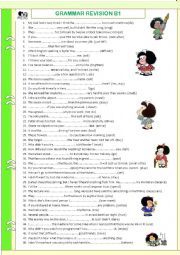 English Worksheet: Review (B1). WITH KEY. Tenses. Word formation. Comparison etc