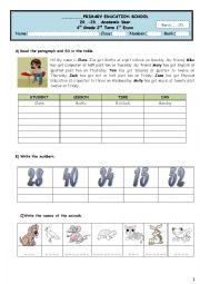 English Worksheet: 4th grade  exam