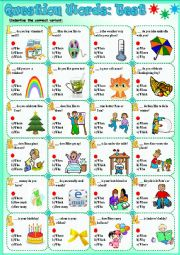 English Worksheet: Question Words:Test