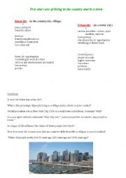 English Worksheet: Living in a village and a town