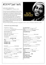 English Worksheet: Redemption song, by Bob Marley
