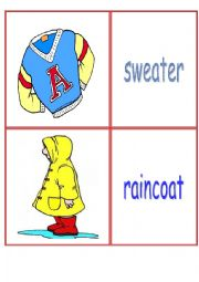 Winter clothes - flashcards