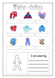 English Worksheet: Winter clothes - matching