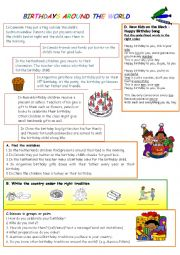 English Worksheet: BIRTHDAYS AROUND THE WORLD
