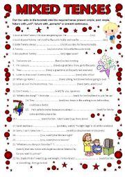 English Worksheet: Mixed Tenses (editable)