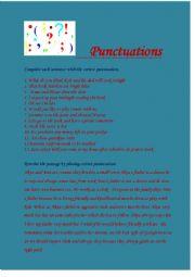 English Worksheet: Punctuations